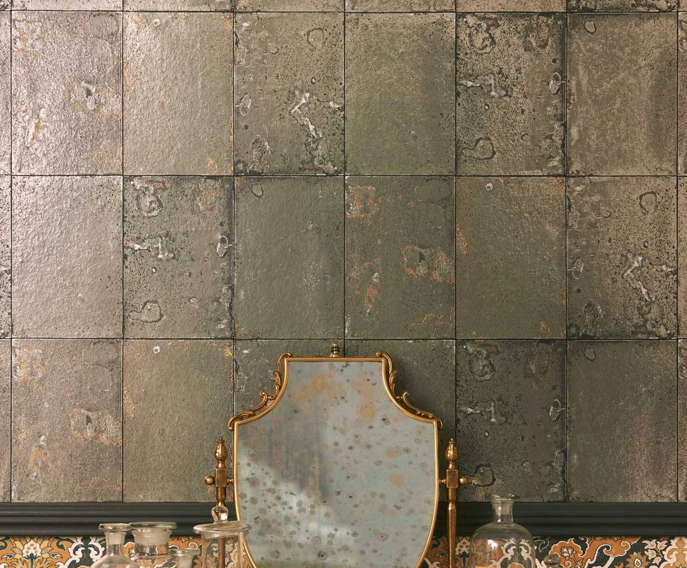 Cole Son This Antique Mirror Wallpaper Uses Reclaimed Tiles As Its Inspiration And Adding A Touch Of Vintage Foxed Effect It Creates Dramatic