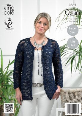 Womens' Cardigans in King Cole Opium - 3882. Discover more Patterns by King Cole at LoveKnitting. The world's largest range of knitting supplies - we stock patterns, yarn, needles and books from all of your favorite brands.