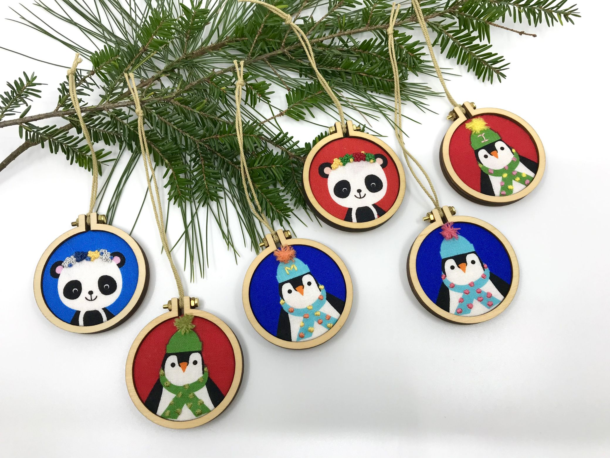 Mini hand embroidered ornaments by pen&thimble are perfect for the
