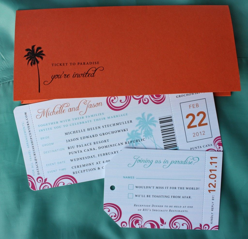 Pink, Orange and Turquoise Swirl and Palm Tree Airline Ticket ...