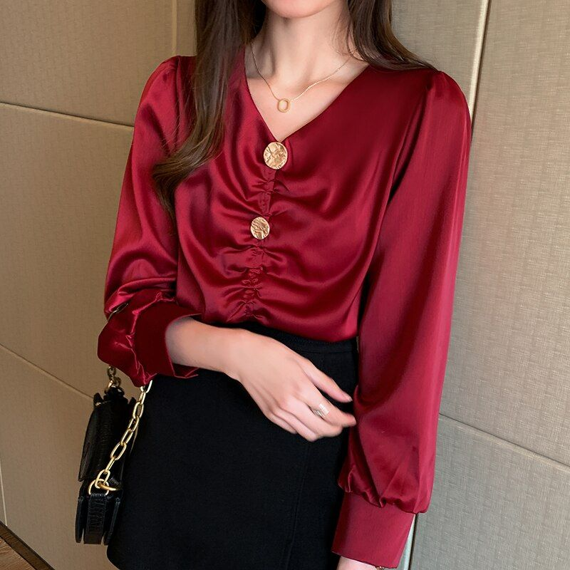 #korean #fashion #women #silk #blouses #satin #shirt #plus #size #elegant #woman #spring #v-neck #blouse #shirts #womens #tops