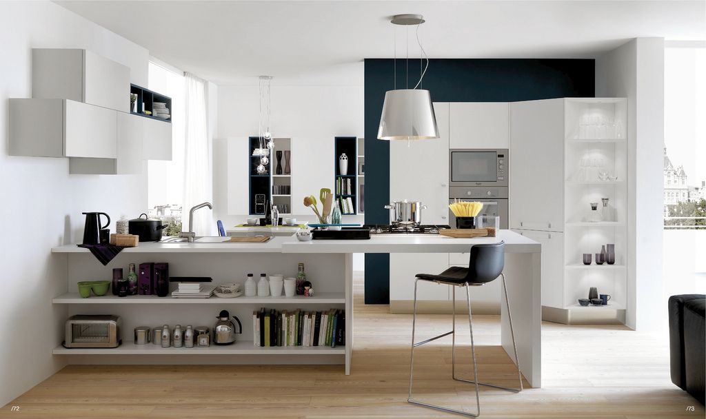 Open Modern Kitchens By Armando Ferriani Image 07 Amazing White Grey Kitchen Cabinets With Modern Grey Hanging Lamp And Black Chair