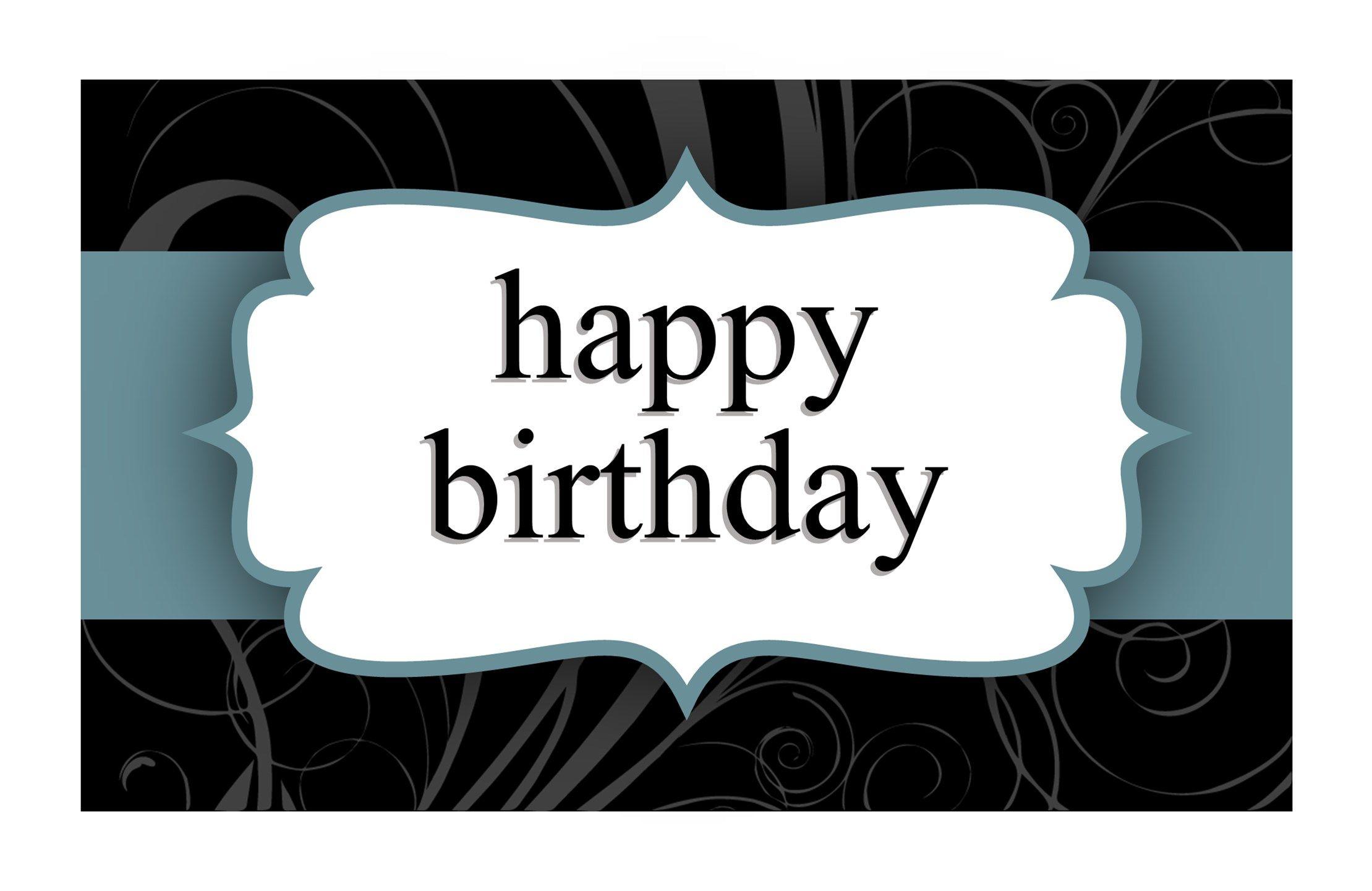 Birthday Card (Blue Ribbon Design, HalfFold) inside Half