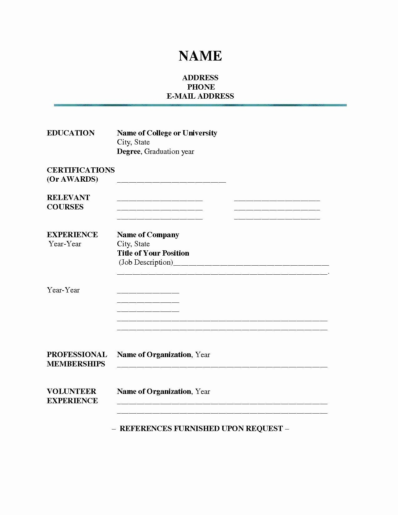 30 Blank Resume Form For Job Application In 2020 Student Resume Template Free Printable Resume Templates Job Resume Template