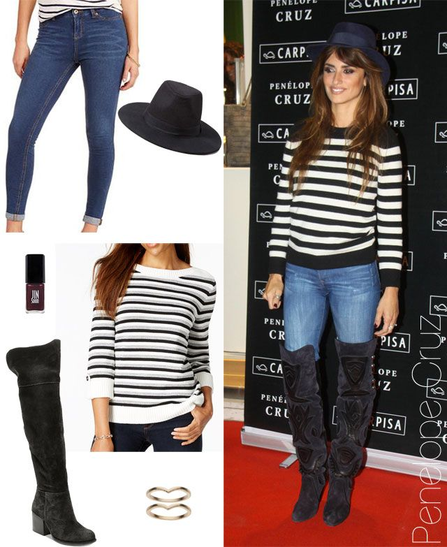 Penelope Cruz in a striped sweater with skinny jeans, over the knee boots and wool fedora