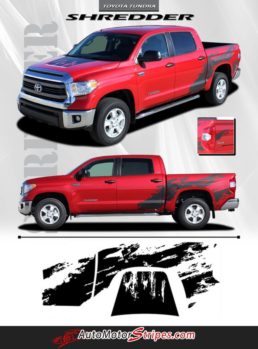 2014 2016 toyota tundra shredder hood and truck bed decal 3m vinyl graphics striping 3m kit