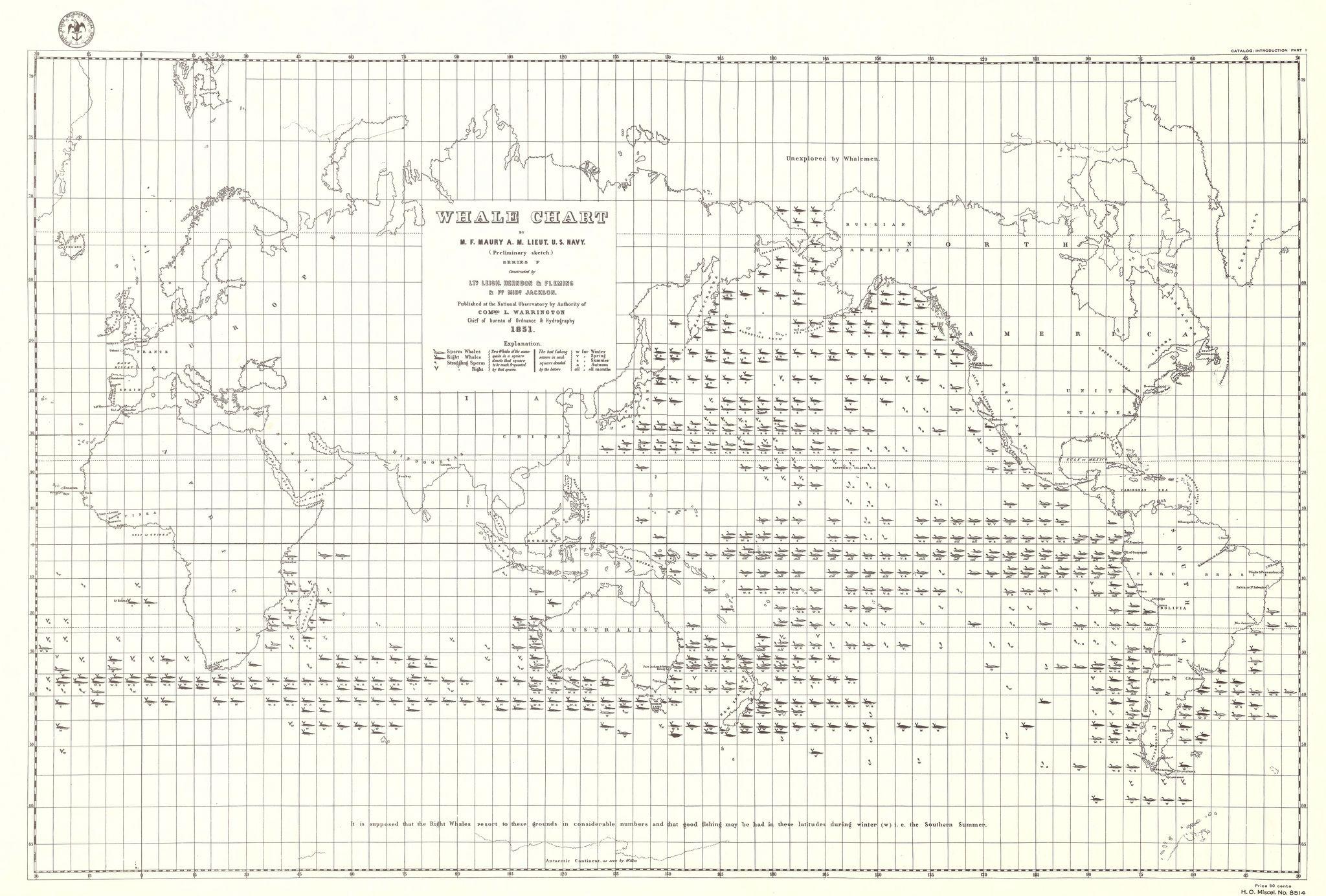 Whale chart.  Matthew Fontaine Maury, 1851