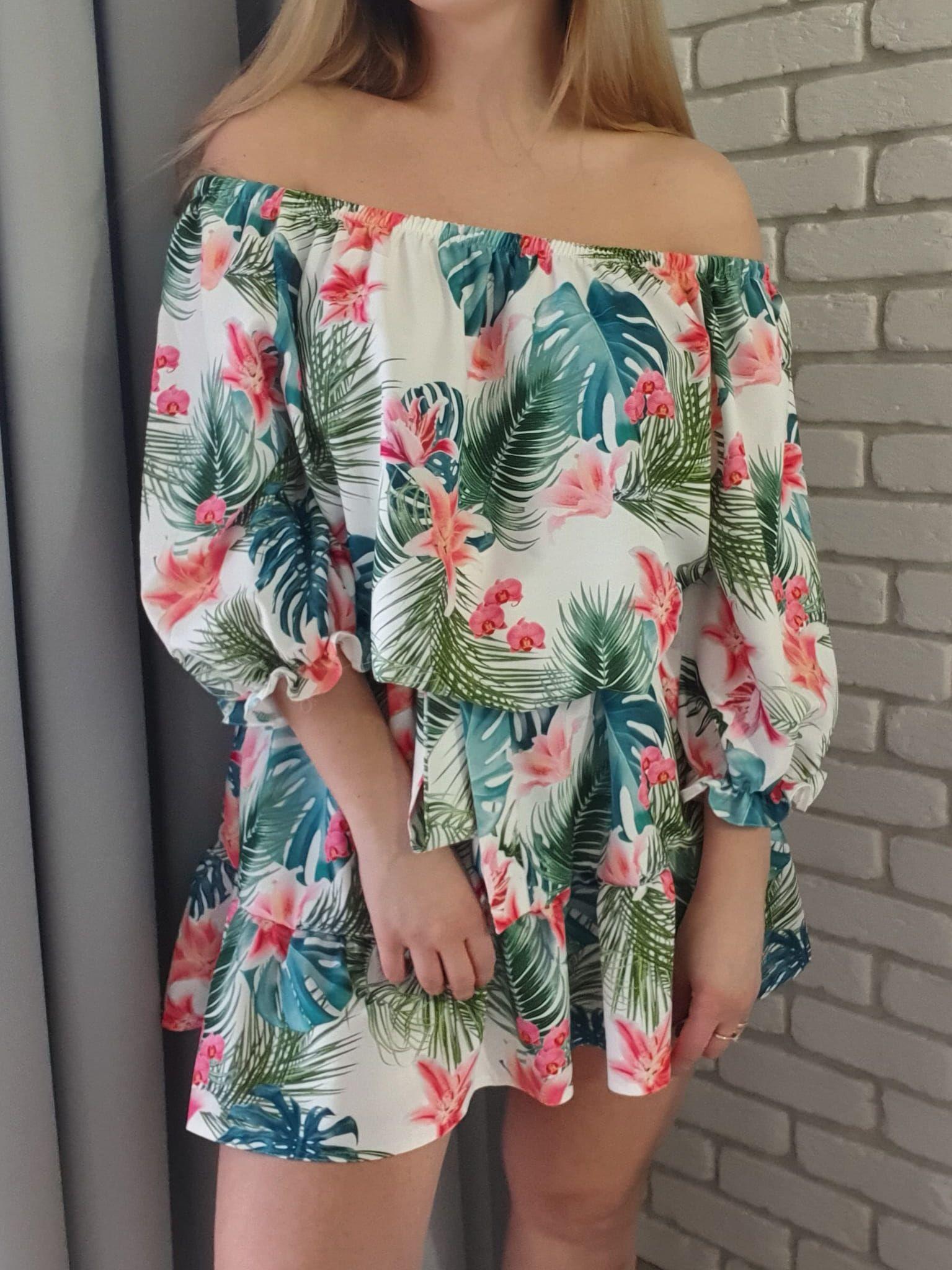 Letnia Sukienka W Zielono Rozowe Kwiaty Fashion Women Dresses