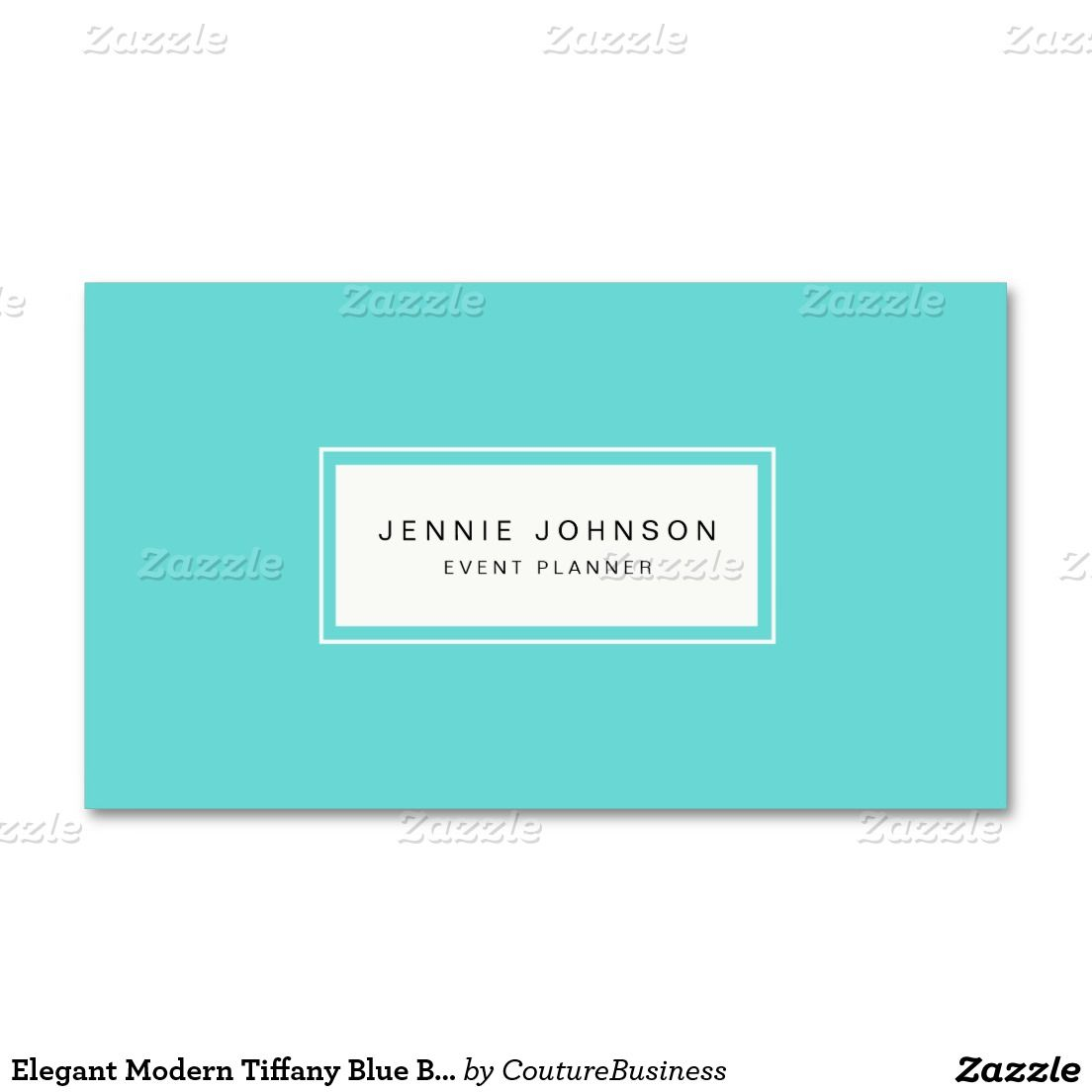 Elegant Modern Blue Business Card | Business cards, Tiffany blue and ...