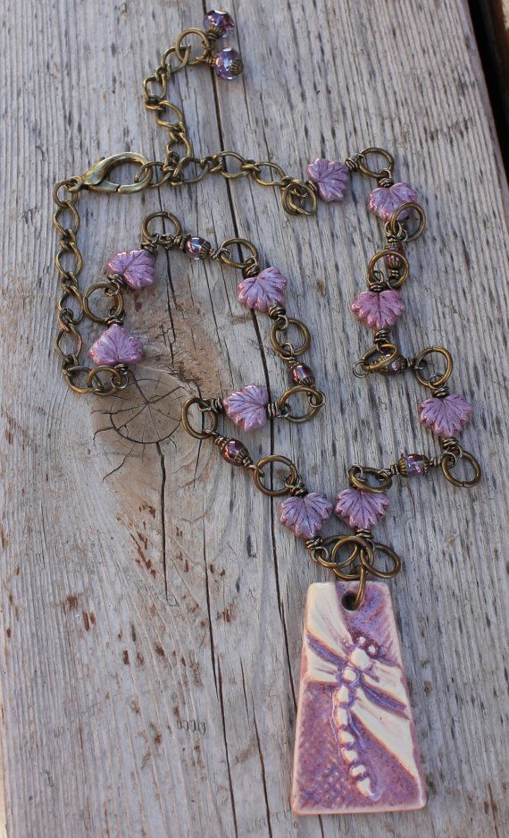 Ceramic Purple Dragonfly Artisan Necklace with Czech by gettagift,