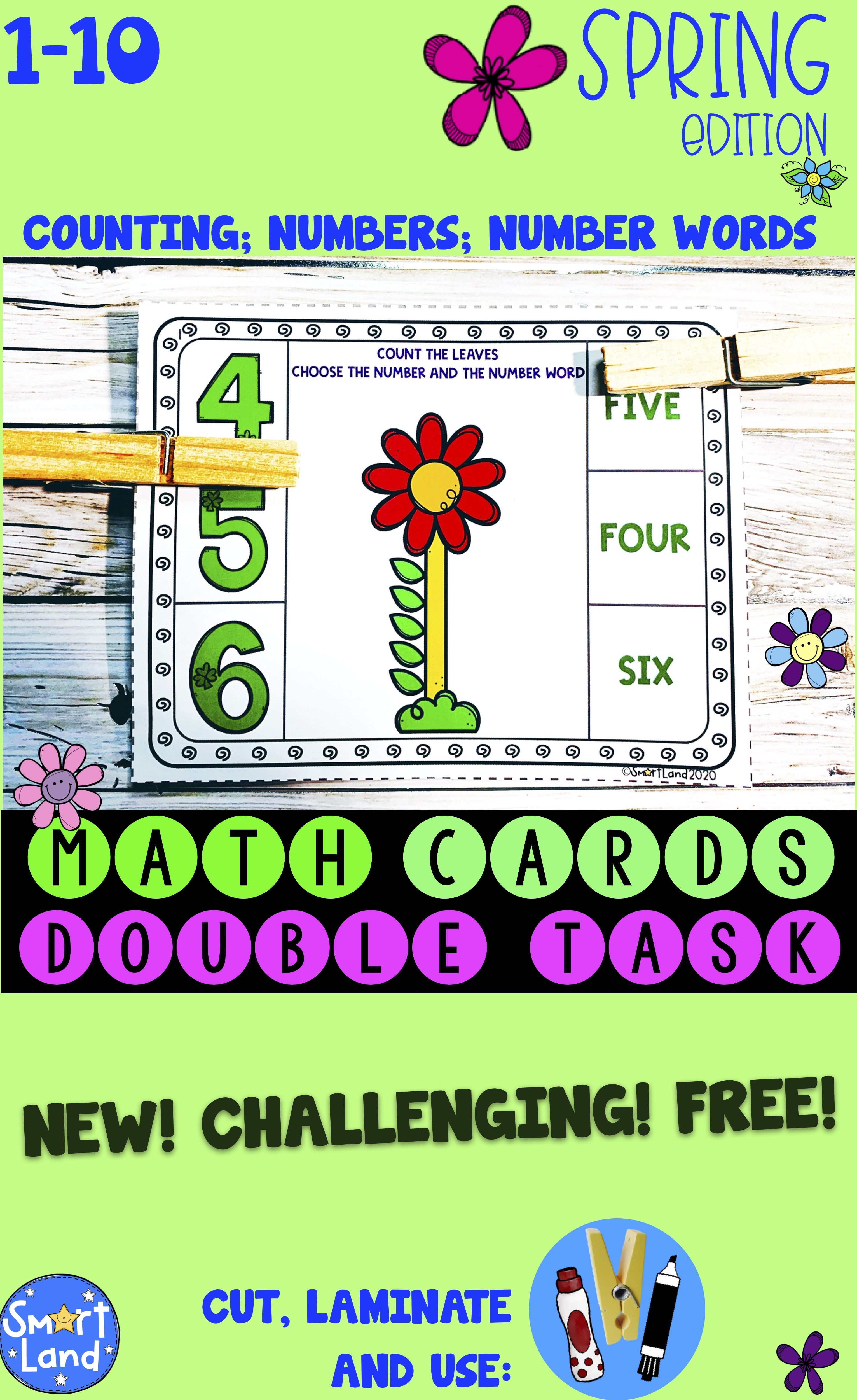 Free Math Cards Counting And Number Practice Spring