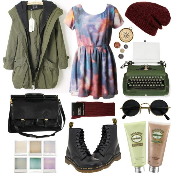 Untitled by hanaglatison on Polyvore featuring Dorothy Perkins, Topshop, Dr. Martens, LIST and Holga