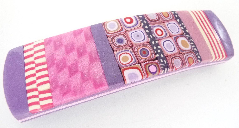 Striped Pink Purple Polymer Clay Retro Checkerboard Mica Shift Hair Barrette. $14.00, via Etsy.