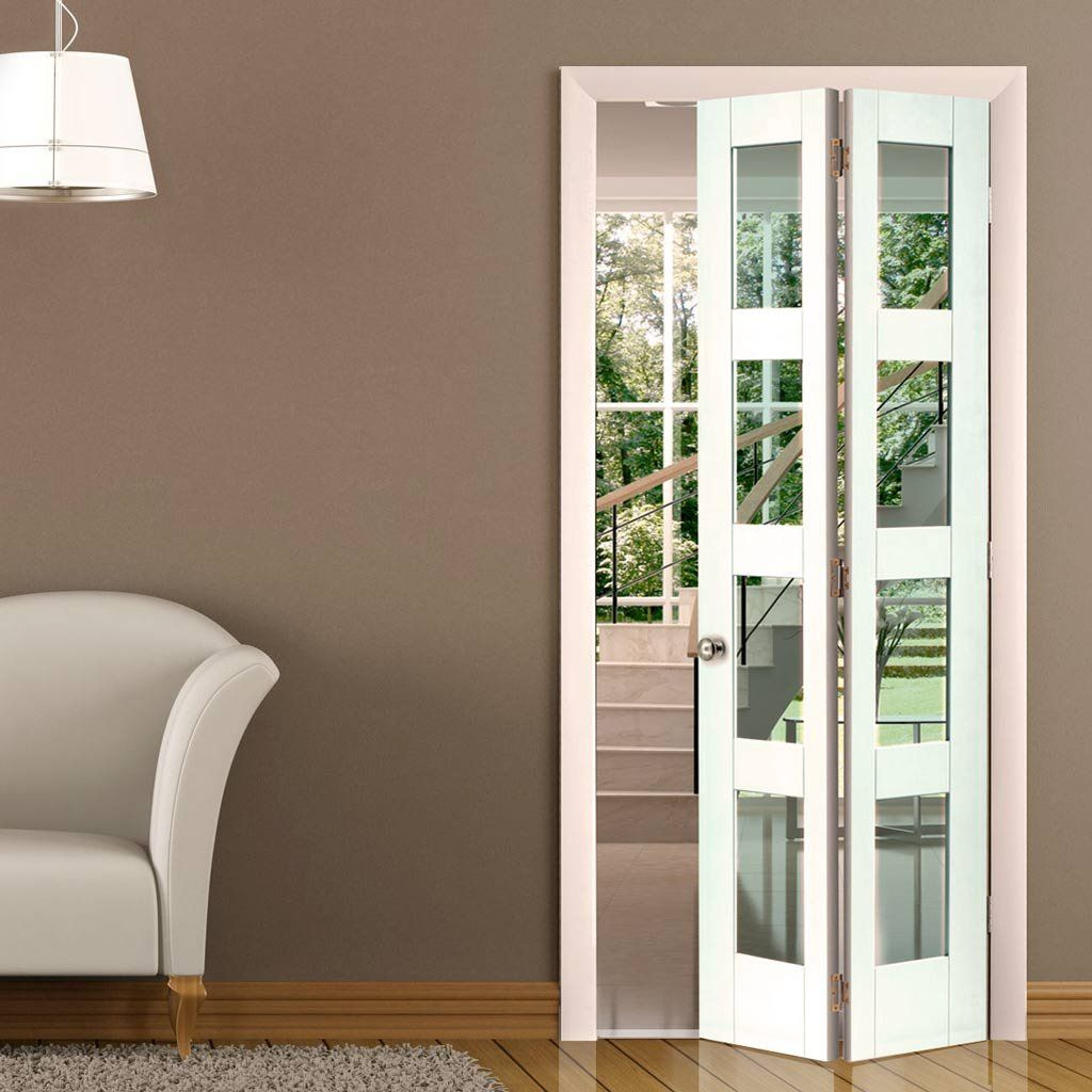 Clear glass interior doors - Jb Kind Cayman White Primed Bifold Door Clear Safety Glass Glazedbifolddoors Jbkfoldingdoors