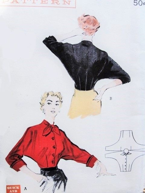 1950s Striking Bat Wing Sleeved Blouse Pattern Quick N Easy Butterick 5460 Two Sleeve Styles Cuff Vintage Sewing Patterns Vintage Sewing Batwing Blouse Pattern