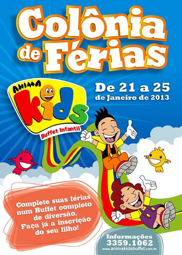 Panfleto Colonia De Ferias Anima Kids Com Imagens Colonia De