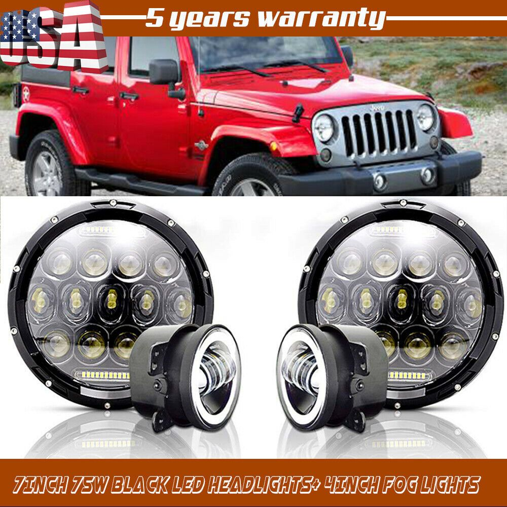 Ad Ebay 7inch Round 75w Led Headlights 4 Led Fog Lights For 97