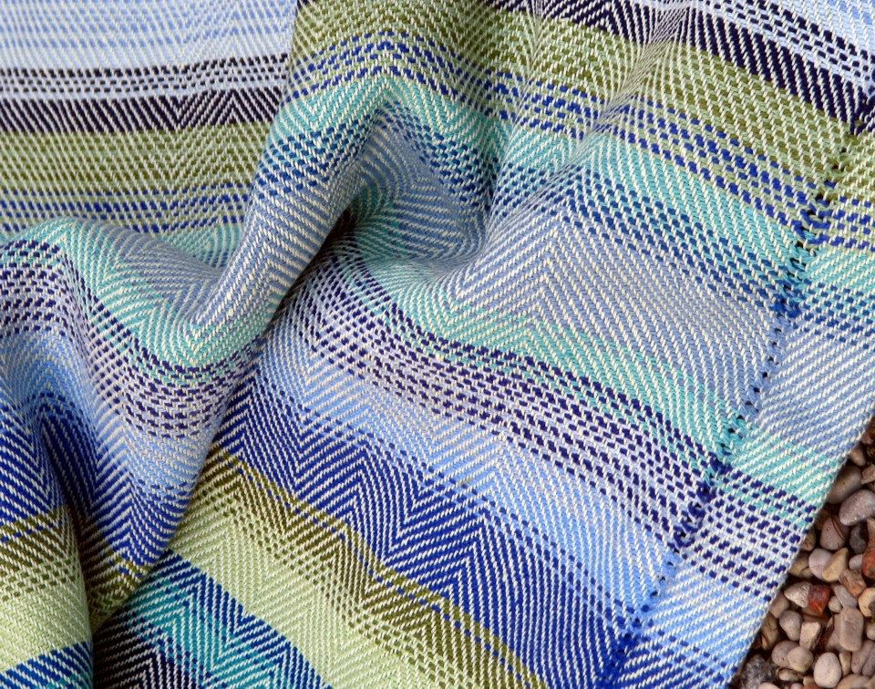 Beach Towel Handwoven Cottolin / Linen Flax  POSEIDON  by AMIZANTI, $440.00