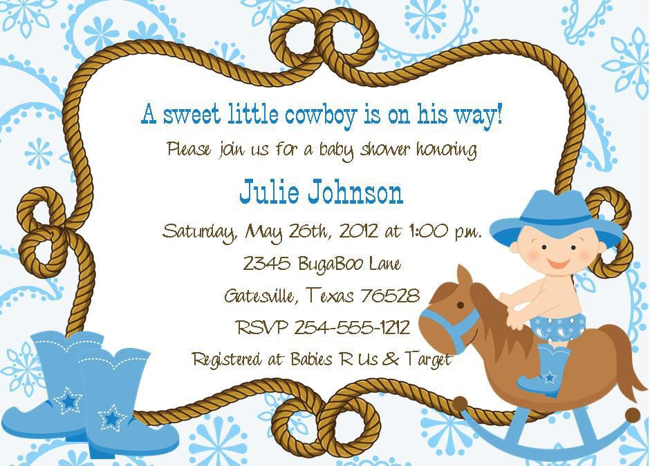 24 Paisley Cowboy/Cowgirl Rocking Horse Baby Shower Invitations ...