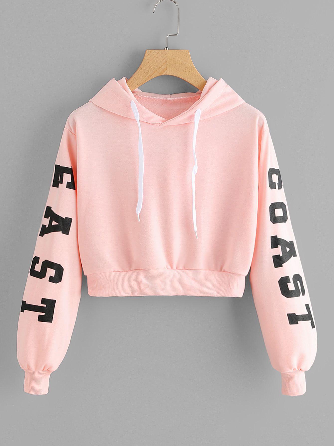 Teen Girl Crop Top Hoodies Pink Cat Ear Hoodie Solid White Active Long Sleeve Cropped Sweatshirt Pullover Sweater
