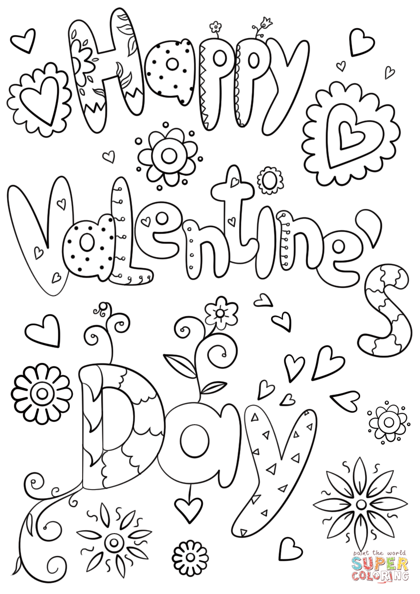 Happy Valentine S Day Coloring Page From Valentine S Day Cards
