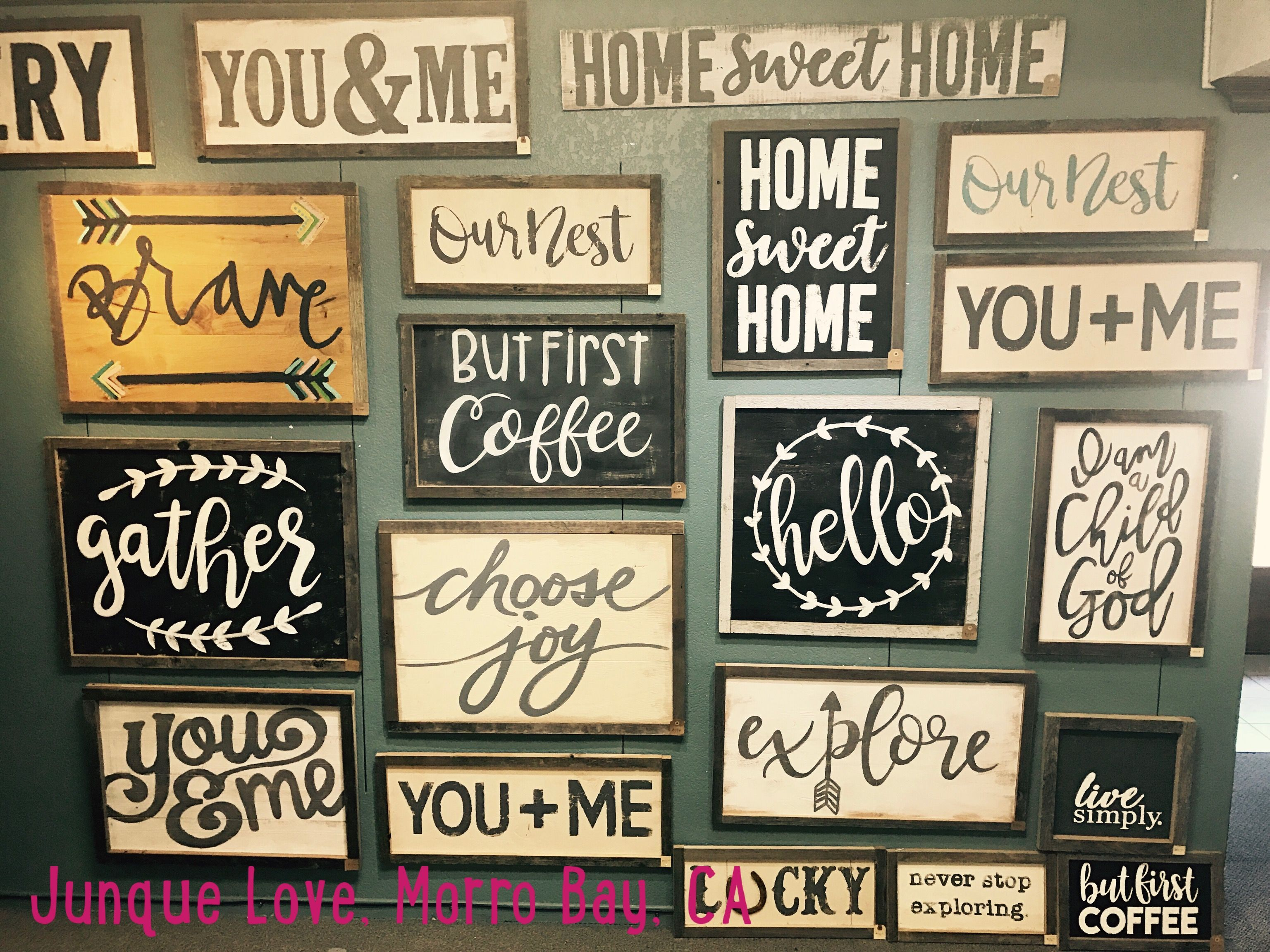 Farmhouse Signs Junque Love Morro Bay Ca Farmhouse Signs Diy Pallet Signs Diy Wooden Kitchen Signs