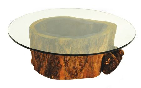 Hollow Trunk Coffee Table Round Gl Top Base Made Of A From Tree That D Naturally It Is The Result Natural Process