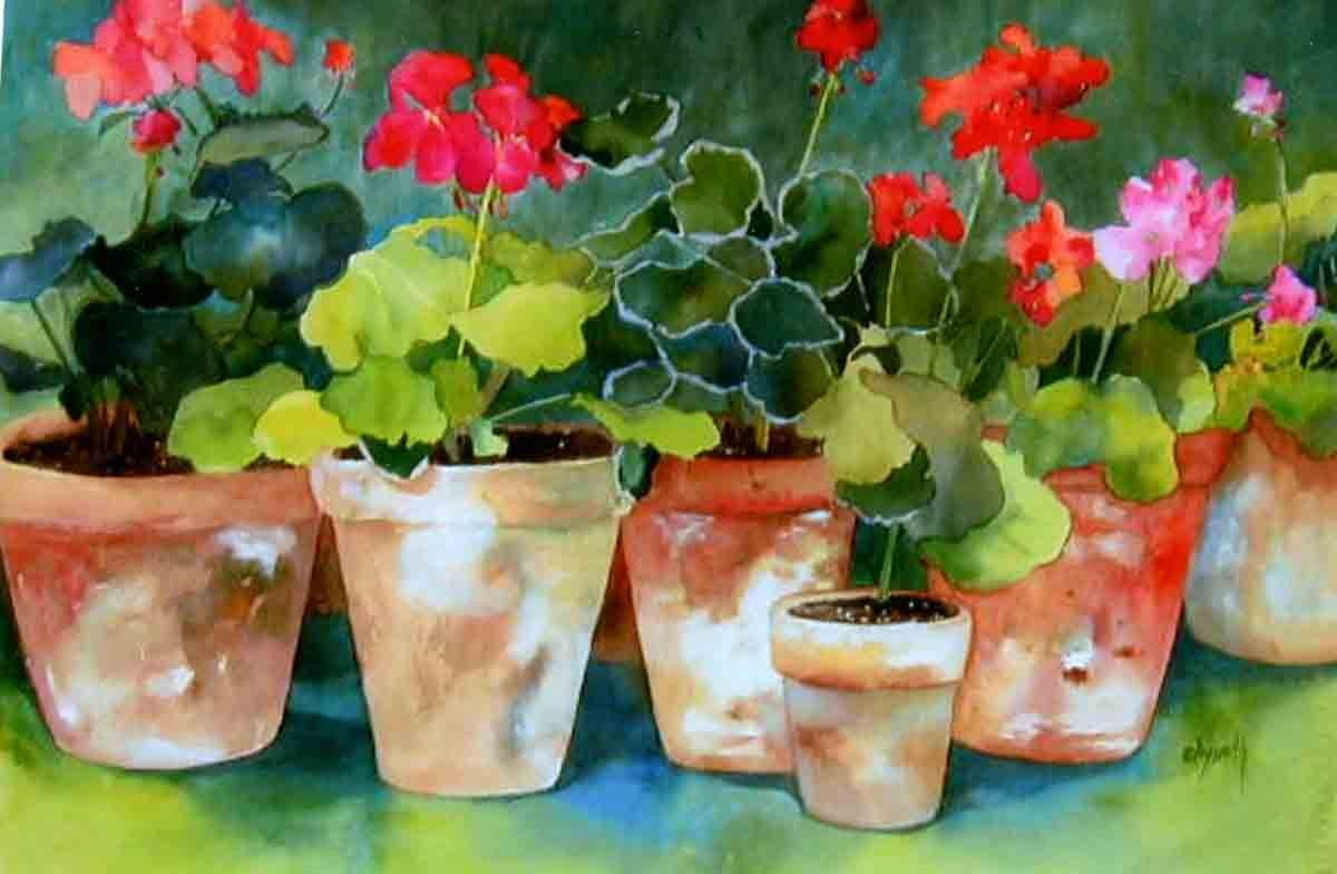 watercolor on 140 lb cold press paper painted from freshly potted red and pink geraniums. This work is SOLD! Email me kay1971smith...