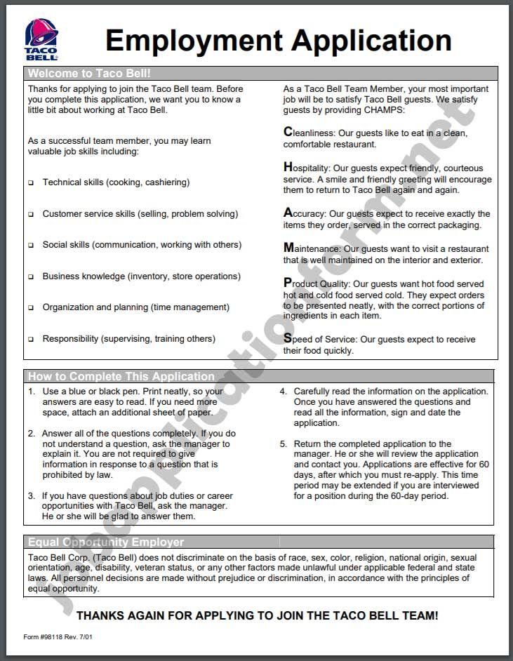 Taco Bell Application Online & PDF 2020