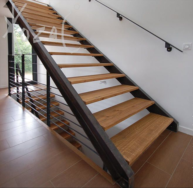 Stair Designs: Extravagant Straight Metal Stringer Stairs With Wood Steps,  Home Living, Modern