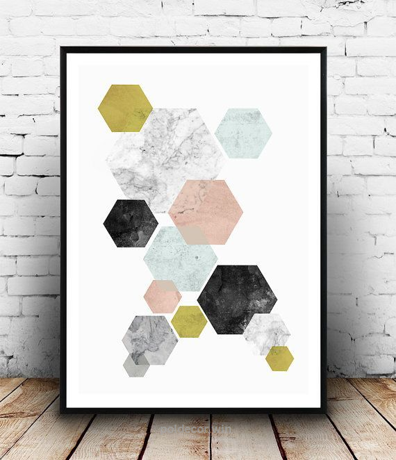 Splendid Cool Geoemtric Art, Abstract Wall Print, Watercolor Poster,  Scandinavian Design, Hexagon Print, Home Decor, Pastel Colors, Minimalist  Art, ...
