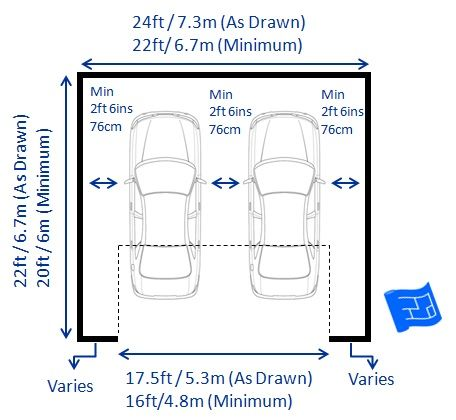 Double garage dimensions with one door standard car size for Garage dimensions 2 5 car