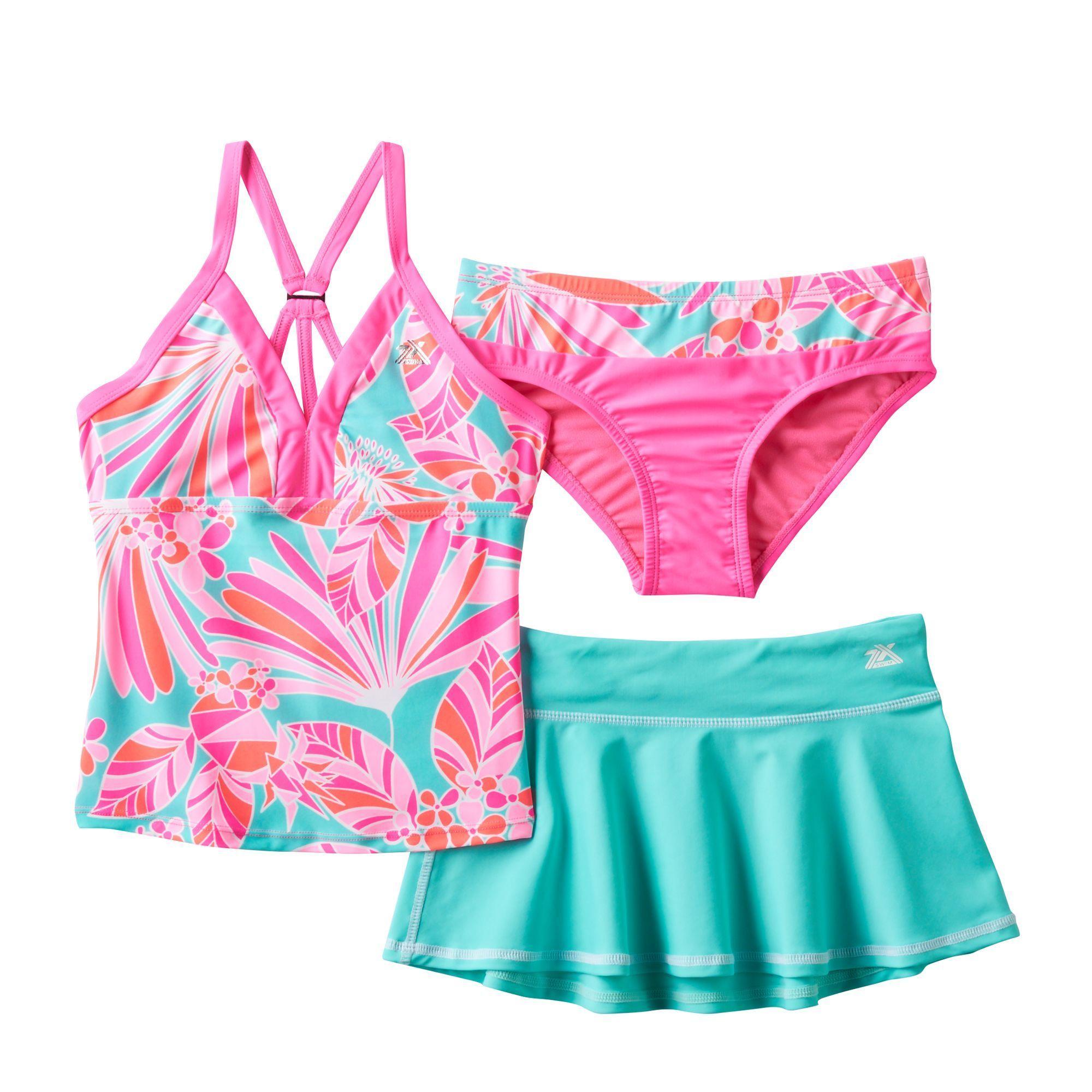 9378141ab5a66 Girls 7-16 ZeroXposur 3-pc. Fantasia Tankini Swimsuit Set, Girl's, Size:  12, Med Pink