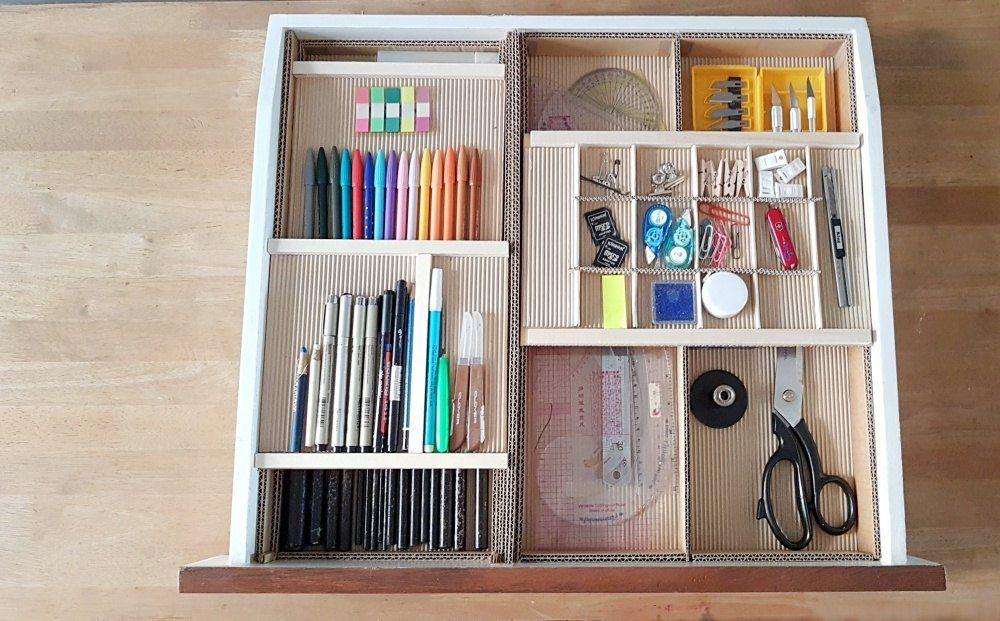 Diy Desk Drawer Organizer With Sliding Trays From Cardboard Box In 2020 Desk Organization Diy Desk Drawer Organisation Organized Desk Drawers