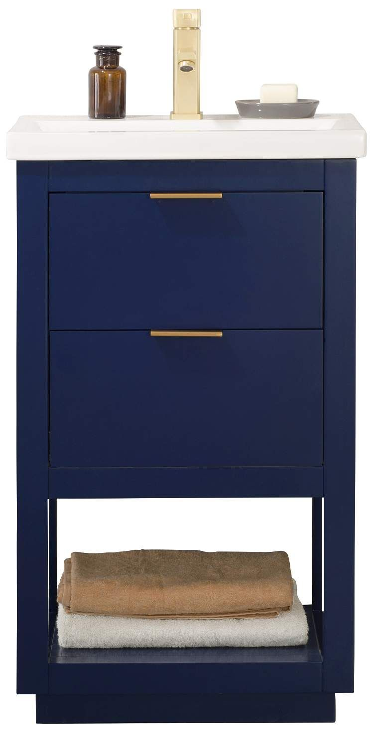Klein 20 Inch Wide 2 Drawer Porcelain Blue Single Sink Vanity In