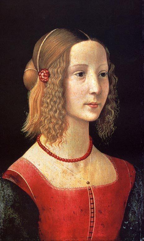 Kampaus. Korallihelmet (?). Domenico Ghirlandaio, Tytön muotokuva1490.