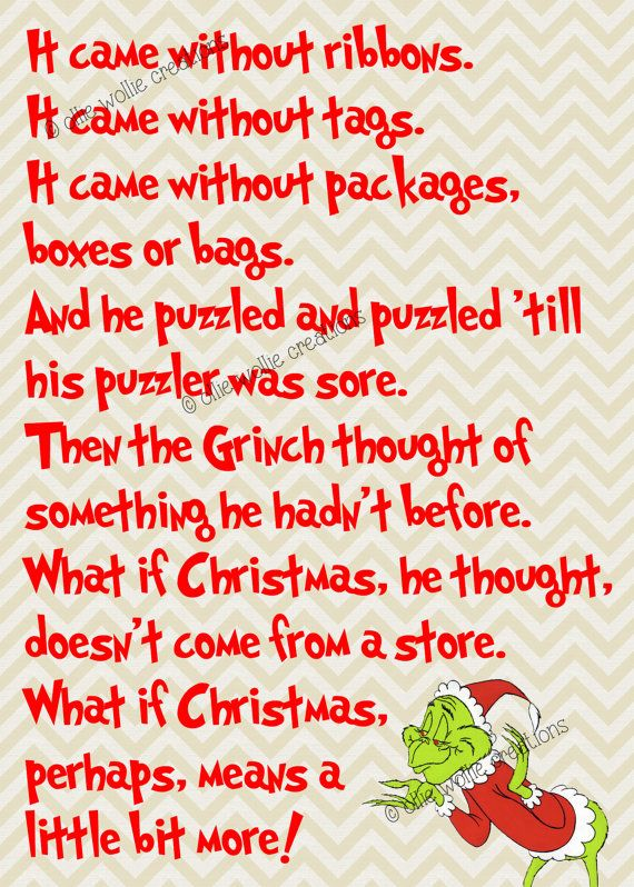 How The Grinch Stole Christmas Quotes 5x7 How The Grinch Stole Christmas Printable by  How The Grinch Stole Christmas Quotes