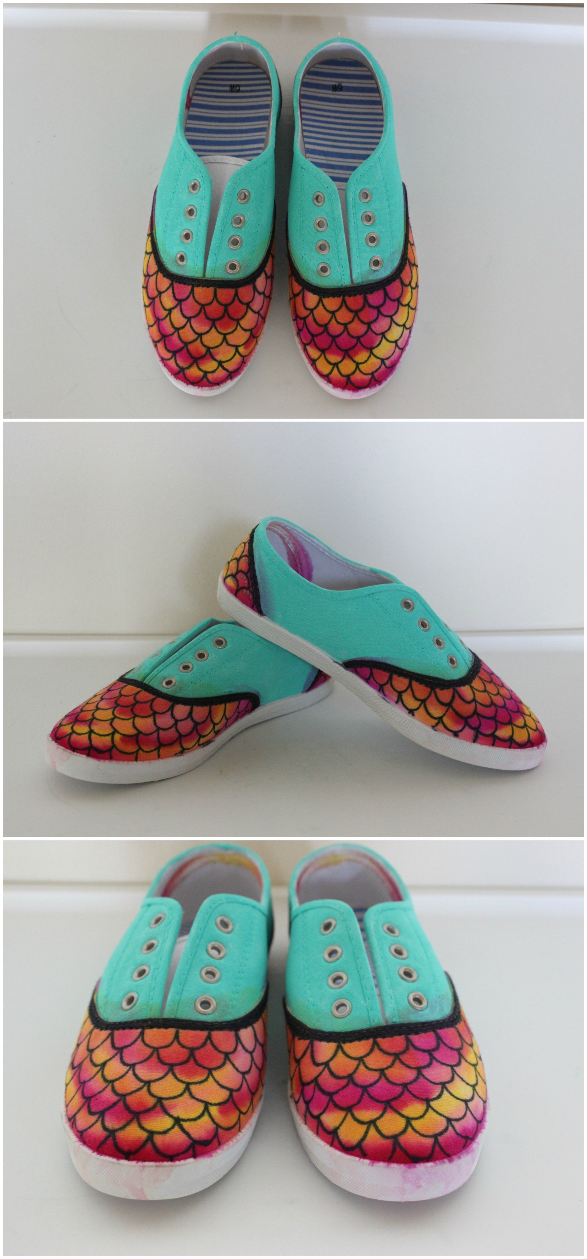 Dragon scales mermaid paint sharpie alcohol diy shoes