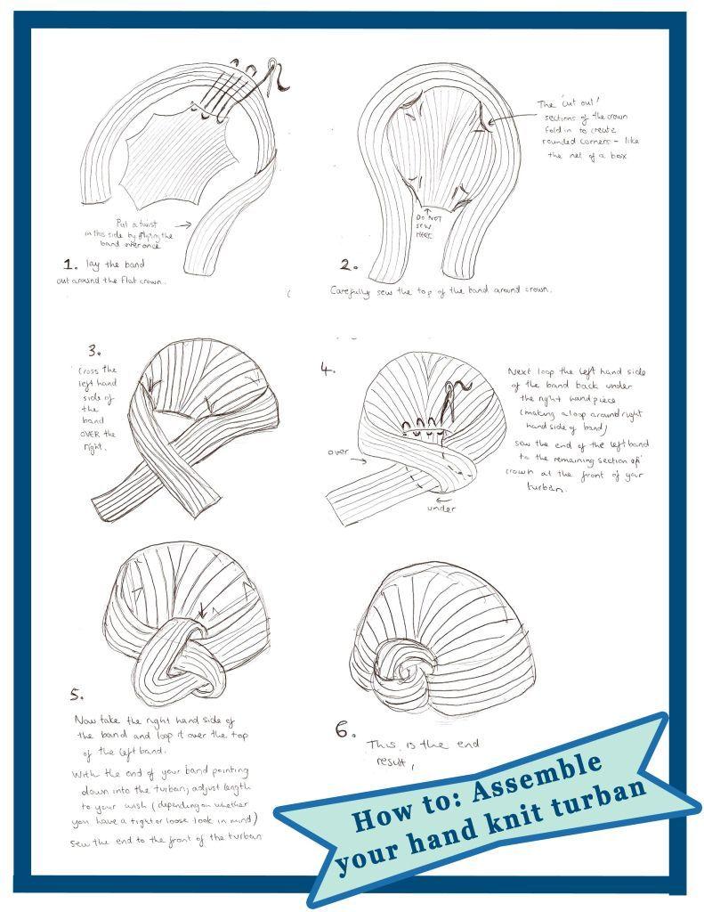 how to assemble knit turban | accesorios para el cabello | Sombrero ...