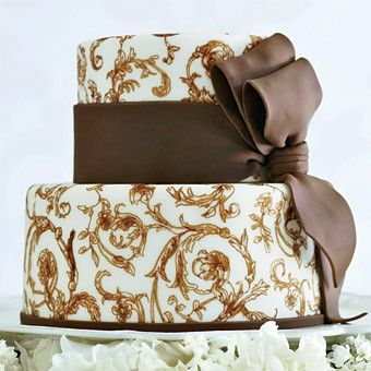 Mocha delight ~ hand painted pattern   wedding cake