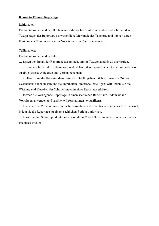 Reportage Kl 7 Unterrichtsmaterial Im Fach Deutsch In 2020 Unterrichtsmaterial Lernen Deutsch Lernen