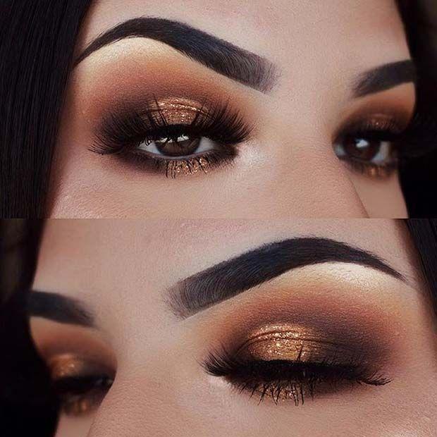 Bronze Glitter Smokey Eye Look For Brown Eyes Forbrowneyes