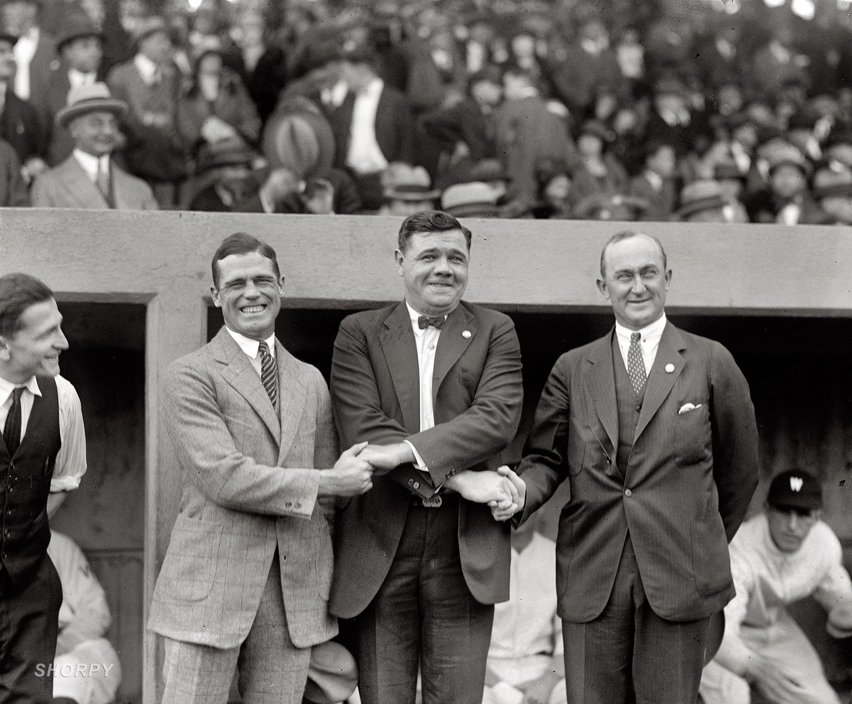 """October 4, 1924. """"Sisler, Ruth, Cobb."""" George Sisler, Babe Ruth and Ty Cobb at the first game of the 1924 World Series at Griffith Stadium in Washington, D.C. National Photo Company Collection glass negative."""
