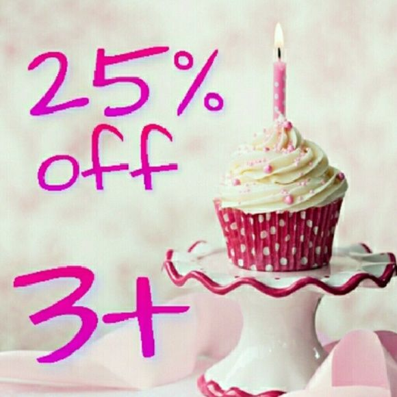 ENDS TODAY 25% off bundles anniversary sale Msg me to get reduced shipping on your bundle!  May 23 marks my four year anniversary on Poshmark! Plus I hit 300k followers over the weekend.  Help me celebrate with a sale of 25% off bundles of 3 or more items this week.  Bundles of 2 will receive 20% off, but you'll have to contact me to manually create any  2 item bundle.  Note: 5+ lb bundles will incur extra shipping charges; I reserve the right to renegotiate bundle prices if those charges…