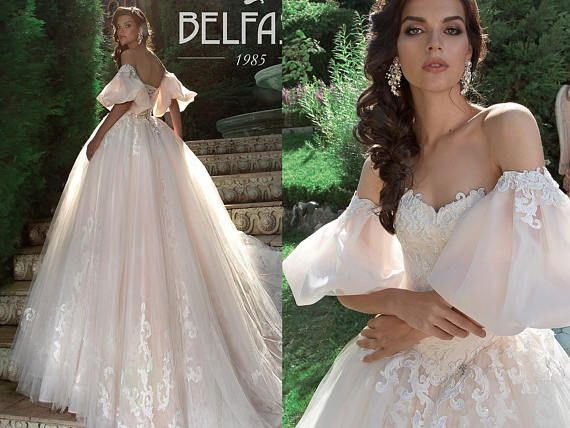 eca7e23b9a2f Off Shoulder Princess Wedding Dresses Ball Gowns Bohemian puff sleeve gown