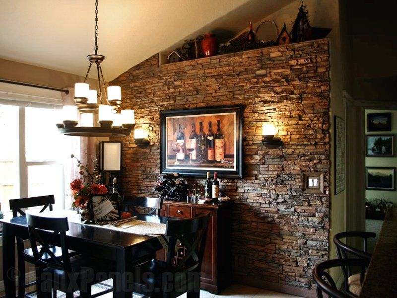 The Interior Stacked Stone Wall Brings An Old World Feel To This Dining Room