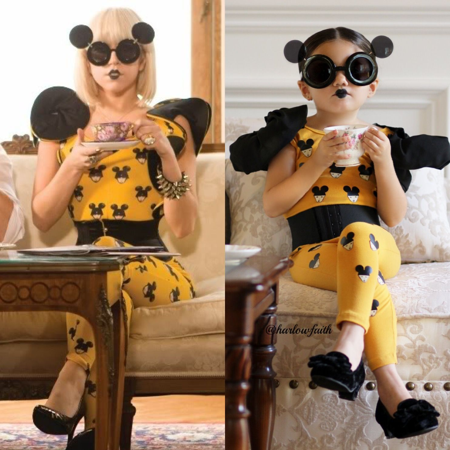 Harlow as a mini Paparazzi Lady Gaga! This leotard from