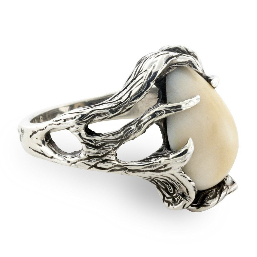 Elk Free Form Tooth Ivory Ring Engagement Ring Shapes Hunting Wedding Rings Pear Shaped