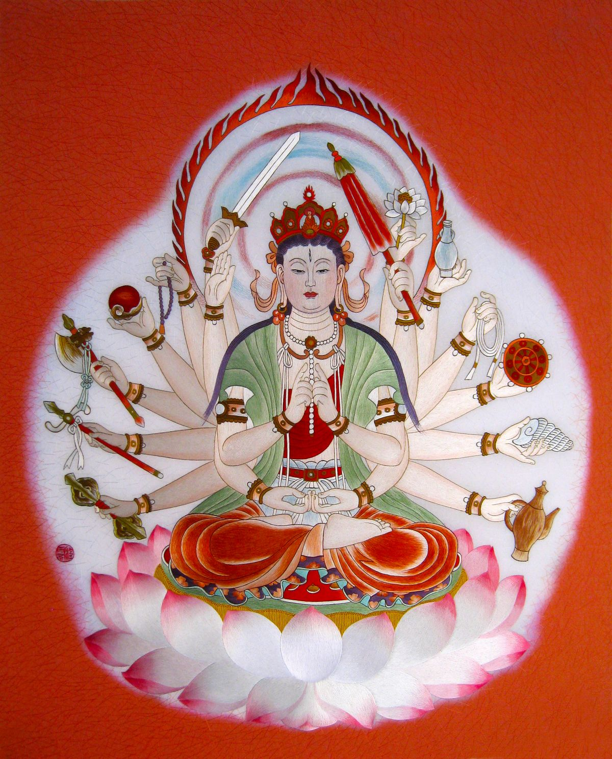 Guanyin with Full Hands #Handmade #Silk #Embroidery #Art 75166 http://www.queensilkart.com/100-handmade-embroidery-framed-people-guanyin-with-full-hands-75166/ The popularization of Buddhism in China has made the country home to one of the richest collections of Buddhist arts in the world. Buddhist art in China generally depicts notable Buddhist figures, both historical and mythical and narrative scenes from their lives.