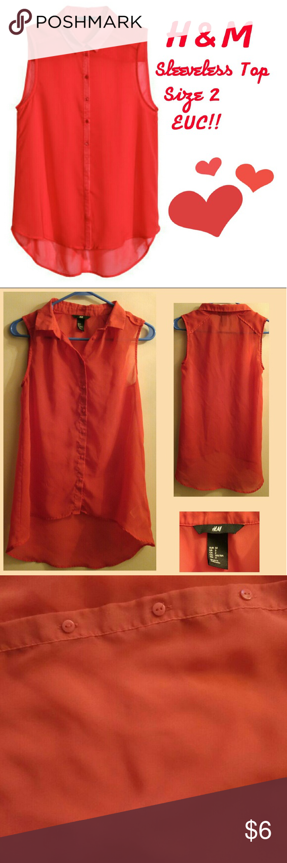 H&M Size 2 Red Sheer Classy Button Up Top For sale is a H&M size 2 button down semi-sheer top.  A very lightweight material. Very comfy yet classy style.  Excellent cond.  One VERY small stain that is hardly noticeable..  Tried to take pic but so small and light can't really see in pic.   Shown in photo 3. Thanks for stopping by my closet!! H&M Tops Blouses